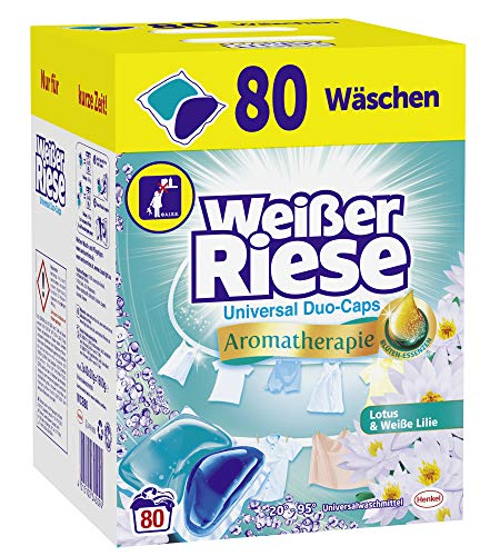 Weißer Riese Universal Duo-Caps Aromatherapie, 80 (1x80) Waschladungen, Universalwaschmittel Lotus & Weiße Lilie