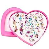 HOWAF 36pcs Licorne Bagues Enfants en Plastique, Réglables Bague Jouets Kit Enfant Fête Fille avec Boîte De Coeur, Anniversaire Licorne Pochettes Cadeau Fille Pinata Licorne