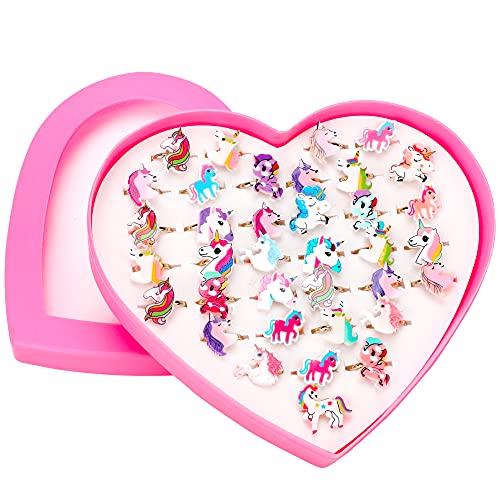 HOWAF 36 Piezas Unicornio Cumpleaños, Ajustables Anillos para niñas, Princesa...