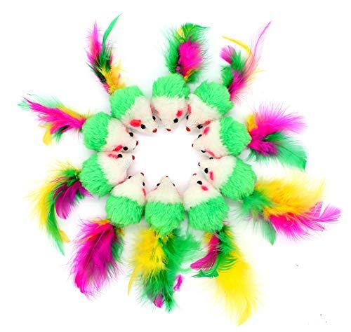 Ranvi 10 pcs Juguetes Peludos para Mascotas Mouse Cat Toy Mouse Cat Catcher Juguetes con Colas de Plumas (Color al Azar)