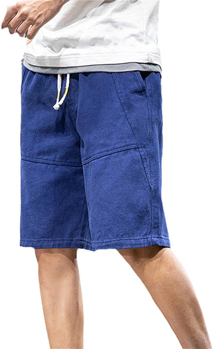 Summer Shorts Men's Knee-Length Casual Pants Pure Cotton Straight Bermuda Loose Overalls Shorts
