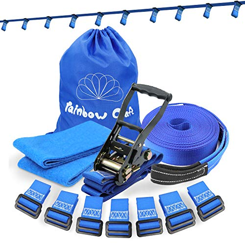 Rainbow Craft Ninja Rope for Attaching Kids Ninja Obstacle Accessories - Heavy Duty Towing Strap Grade Ninja Slackline for Hanging Ninja Attachments - 12pc Removable Loops Buckles (Blue Color)