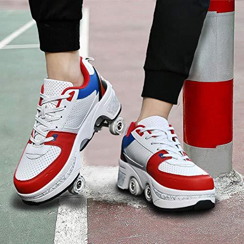 JZIYH Patines De Ruedas 2 En 1 Multiusos Deformación Polea Zapatos para Adultos Niños Ajustables Doble Fila Automática Calzado De Deportivos,White+Blue+Red,39