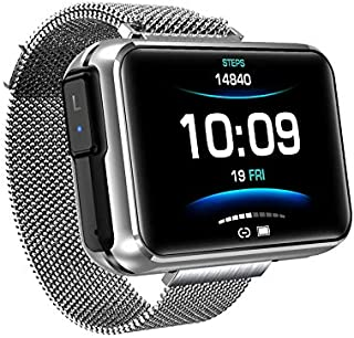 LBFXQ Monitor De Sueño del Ritmo Cardímetro del Podómetro del Rastreador De Actividades, con Auriculares Bluetooth, Reloj Inteligente Teléfonos Compatibles Natación Impermeable,Plata
