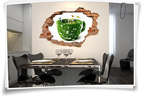 Medianlux 3D muurdoorbraak muurschildering muursticker sticker thee kopje kamille keuken Teatime