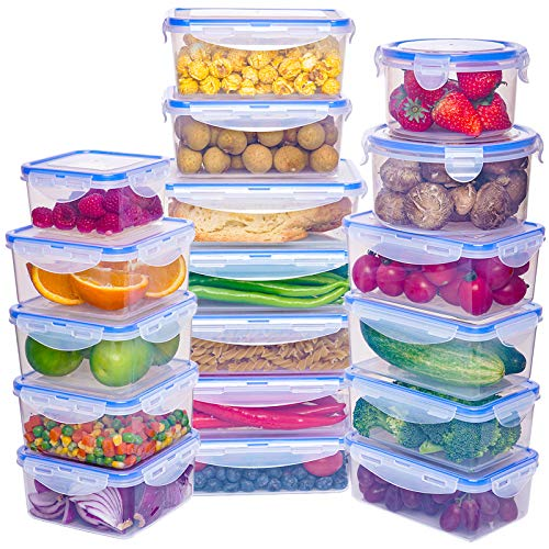 18 Pack Large Capacity Food Storage Containers Set  Airtight Plastic Food Containers with Easy Snap Lids  100% Leak Proof Food Containers with Lids  Plastic Storage Containers with Lids  BPAFree