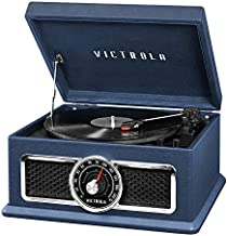 Victrola 4-in-1 Nostalgic Plaza Bluetooth Record Player with 3-Speed Turntable and FM Radio, Blue (VTA-810B-BLU)