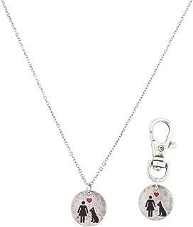 Dog's Best Friend K9 Owner Necklace Dog Pet Animal Collar Keychain Set BFF Forever Dog.