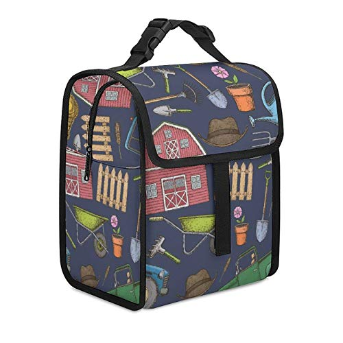 Aekhamu Reusable Lunch Bag Lunch Box Farming Equipment Icons Lunch Tote with Shoulder Strap Leakproof Waterproof Lunch Tote for Picnic School Office Beach Camping Hiking Travel