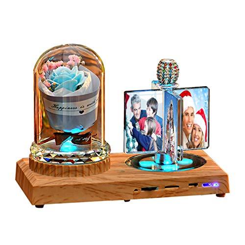 Kundenspezifisches Fotoalbumpersonalisiertes Bluetooth-Musiklicht LED leuchtendes Fotoalbum 3D-Kristalllicht-Jubiläum für Frauen(Blaue Rose)