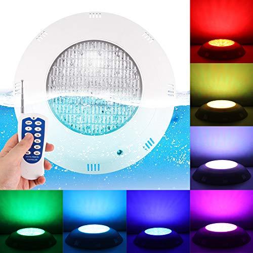 ALLOMN Luz Subacuática, Luces para Piscina IP68 Impermeable LED Luz Subacuática Fuentes de Control Remoto Estanque de la Lámpara Lámpara de Foco (AC12V 20W Plástico ABS, RGB + Mando a Distancia)