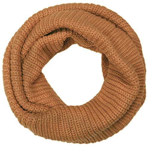 styleBREAKER Unisex Feinstrick Schal, einfarbiger Loop Schlauchschal, Feinripp Winter Strickschal, Loopschal 01018112, Farbe:Camel