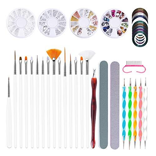CareMont Nail Art Acrylic UV Gel Extension Builder PatróN de Pintura DIy Dibujo Rhinestone Bead Dotting Picking Brush Kit