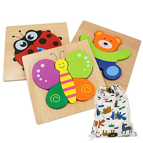 DreamsEden Wooden Chunky Jigsaw Puzzles Set with Storage Bag - Animal Blocks Learning Educational Toys Gifts for Kids Boys Girls, 3 Pcs (Bear, Butterfly, Ladybug)