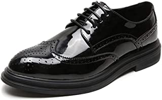 Bin Zhang Dress Oxfords for Men Platform Office Shoes Lace up Patent Leather Pointed Toe Flat Block Heel Brogue Carving Solid Color (Color : Black, Size : 7 UK)