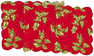 Quilted Reversible Holly Berry Holiday Table Runner Red by C + F Enterprises