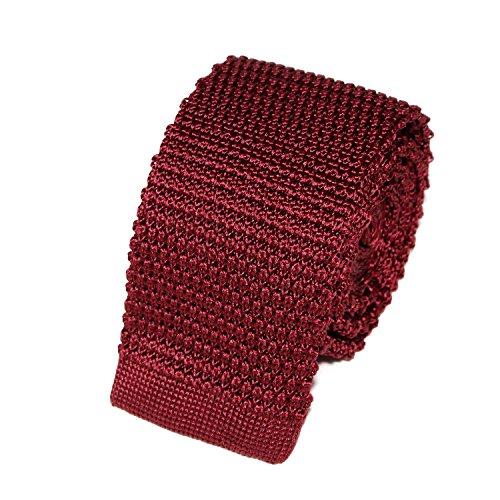 TIECLUB – Corbata de punto para hombre de malla 100% seda – 5,5 cm de ancho – Elija su color granate Talla única