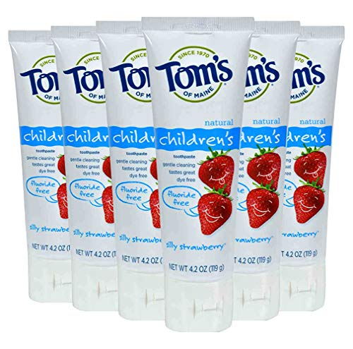 Tom's of Maine Natural Fluoride Free Children's Toothpaste, Silly Strawberry, 4.2 Oz (Pack of 6)