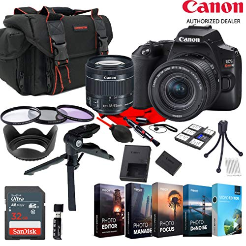 Canon EOS Rebel SL3 EF-S 18-55mm STM Zoom KIT W/Photo Editing Software + Accessory Bundle