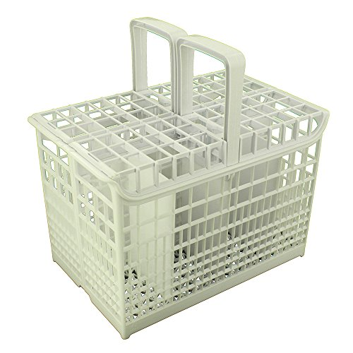 Panier à couverts - 8 compartiments - Avec poignée - Compatible avec lave-vaisselle Hoover Candy - Blanc