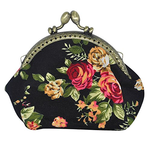 Oyachic Printed Coin Purse Vintage Pouch Buckle Clutch Bag Kiss-lock Change Purse Floral Clasp Closure Wallets For Women Girl
