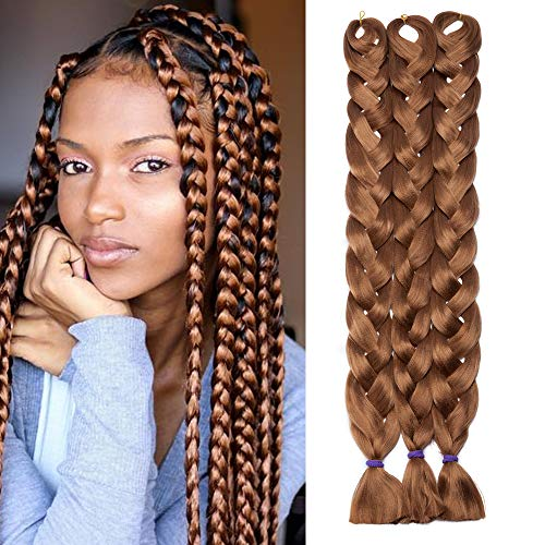 3 Bündel Braids Kunsthaar Extensions 100cm Braiding Haarverlängerung Crochet Flechthaar Synthetische Haare 165g/Bündel Kastanienbraun