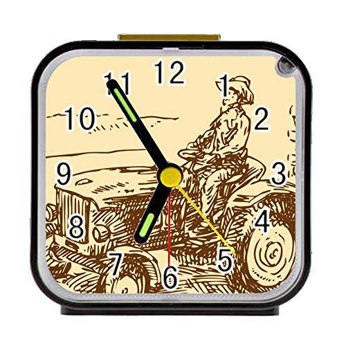 """Bernie Gresham Alarm Clock Old Farm Tractor Antique Alarm Clock for Children Custom Square Black Alarm Clock 3.27""""(H) x 3.07""""(W) x 1.65""""(D)"""