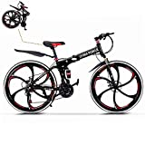 TOUNTLETS 26in Folding Mountain Bike,Folding Bikes for Adults Featuring 6 Spoke Wheels & 21-Speed Shifter,Commuter Bikes for Men and Women,Foldable Bike with Dual Disc Brakes,US in Stock