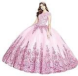 Snow Lotus Vestido de quinceañera de princesa con cuentas bordadas con encaje floral apliques bola vestidos dulces 16 vestidos