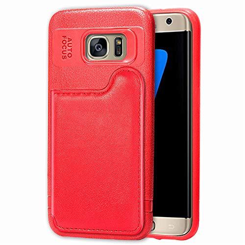 FNBK Kompatibel mit Hülle Samsung Galaxy S7 Edge Ultradünne Wallet Case Flip Tasche Handyhülle Magnetische Ledertasche im Bookstyle PU Leder Brieftasche Klapphülle Kartenfach Stand Schutzhülle,Rot