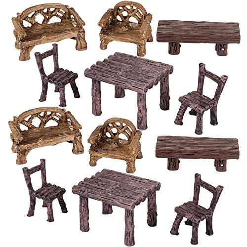 Skylety 12 Pieces Fairy Garden Furniture Ornaments Miniature Table and Chairs Set Fairy Village Micro Resin Bench Chair for Dollhouse Accessories Home Micro Landscape Decoration