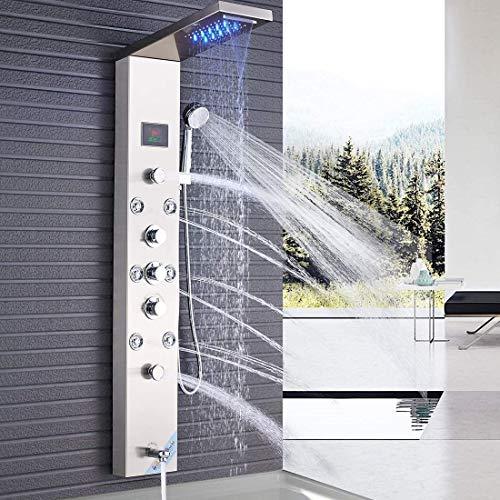 Suguword - Conjunto de ducha con panel de ducha, sistema de torre LED, pantalla de temperatura, masaje corporal de acero inoxidable, sistema de baño y ducha, cascada, lluvia, 6 funciones, ducha