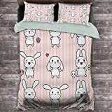 Toopeek Kids Decor Extra Large Quilt Cover Cute Bunny Rabbit with Skull Flower Star Figures on Striped Display Girls Print Can be Used as a Quilt Cover-Lightweight (Full) Pink White
