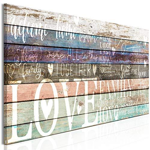 murando Cuadro en Lienzo Love 135x45 cm 1 Parte Impresión en Material Tejido no Tejido Cuadro de Pared impresión artística fotografía decoración Family Madera Home Casa m-C-0428-b-a