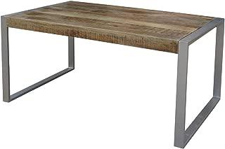 Timbergirl Reclaimed Wood Silver Metal Legs dining table, Brown