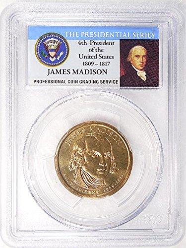 2007 P Pos. A James Madison Presidential Dollar PCGS MS 65 FDI Presidential Label Holder