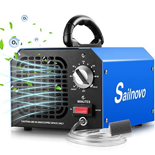 Sailnovo Generador de Ozono 6000 mg/h con Modos de Purificación de Aire y Agua, Purificador Ozono de Aire Ozonizador con Temporizador 3 Horas hasta 300㎡ para Frutas, Verduras, Oficina, Garaje