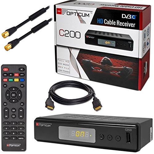 Kabel Receiver Kabelreceiver DVB-C HB-DIGITAL SET: Opticum HD C200 Receiver für digitales Kabelfernsehen (HDMI, SCART, USB) + 1m HDTV Antennenkabel mit Mantelstromfilter schwarz + HDMI Kabel