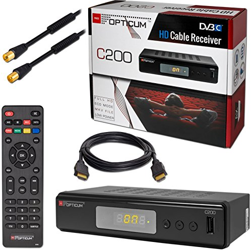 Kabel Receiver DVB-C HB-DIGITAL Set: Opticum HD C200 Receiver für digitales Kabelfernsehen (HDMI SCART USB Mediaplayer) + 3m Antennenkabel vergoldet mit Mantelstromfilter schwarz + HDMI Kabel