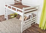 Hochbett für Erwachsene Easy Premium Line K15/n, umbaubar, Buche Vollholz massiv weiß lackiert, Liegefläche: 140 x 200 cm