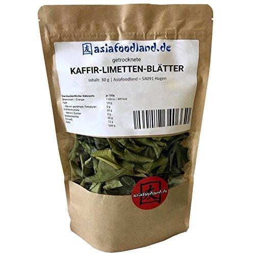 Asiafoodland - Kaffir Limetten Blätter - Kaffirlimettenblätter - Kaffir Limettenblätter bzw. Kaffernlimette - getrocknet, 1er Pack (1 x 30 g)