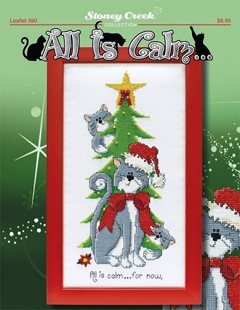 All Is Calm...(Leaflet 390) Cross Stitch Chart and Free Kitty Embellishment
