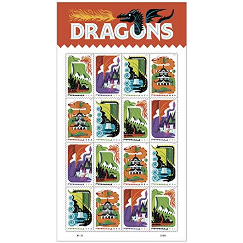 Dragons - 2018 USPS Forever First Class Postage Stamp (Sheet of 16) Scott 5310