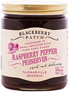Raspberry Pepper Preserves – Blackberry Patch 10 oz Jar – Gourmet All Natural Organic, replaces Jam and Jelly, Authentic Homemade Old Fashioned made in Small Batches – Great for a topping on Salmon or Cream Cheese and Crackers!