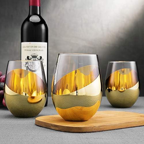 MyGift Modern Titled Design Brass Stemless Wine Glasses Set of 6 product image
