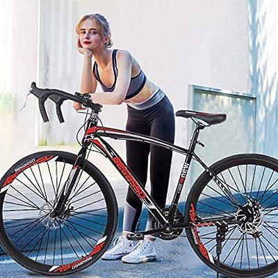 Uorcsa Road Bike City Commuter Bicycle with 21 Speeds Drivetrain, Mens/Womens Hybrid Road Bike Aluminum Full Suspension Road Bike for Intermediate to Advanced Riders