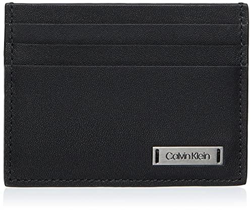 Calvin Klein Smooth W Plaque Cardholder - Porta carte di credito Uomo, Nero (Black), 0.1x0.1x0.1 cm (B x H T)