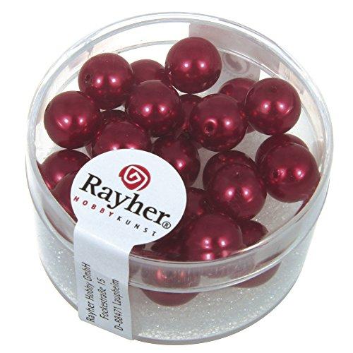 Rayher Hobby 14402287 – Renaissance Verre Perles de Cire, 8 mm à Weber, boîte 25 pièces
