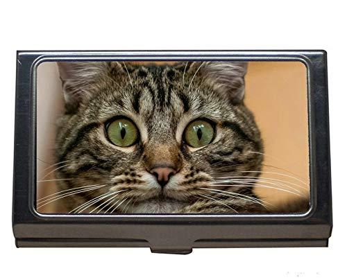 Soporte de tarjeta de visita de acero inoxidable, caja de tarjeta de visita de gato animal para hombres y mujeres.