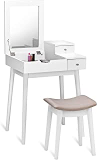 GOFLAME Vanity Table Set with Flip Top Mirror, Makeup Dressing Table Writing Desk Computer Laptop Desk w/ 2 Drawers & Cush...
